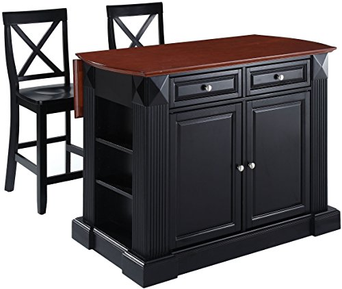 Crosley Furniture Drop Leaf Kitchen Island/Breakfast Bar with 24-inch X-Back Stools - Black (Breakfast Stools Island With)