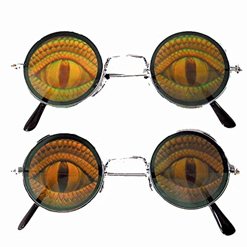 BUY 1 GET 1 FREE Round lens Lizard EYE Reptile Poker Eyes Hologram 3d Sunglasses - Free Lizard