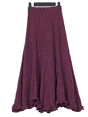 Kufv Women's Vintage Knitted Wool Ruffle Mermaid Big Hem Maxi Skirt (Burgundy), One Size