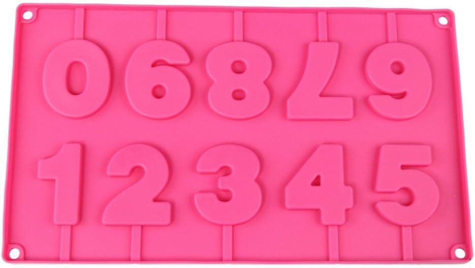 3 dimensionale Fondant-Formen aus Silikon in Zahlenform von 0 bis 9 ideal zum Herstellen von Lollipops aus Zucker und Schokolade kann mit St/äben verbunden werden