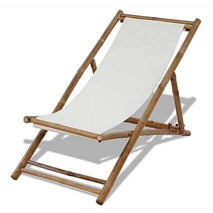 Amazon.com: Tumbona reclinable de bambú resistente para ...