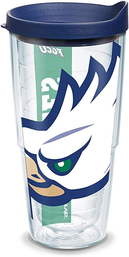 Clear Tervis 1099267 Florida Gulf Coast Eagles Colossal Tumbler with Wrap and Navy Lid 16oz