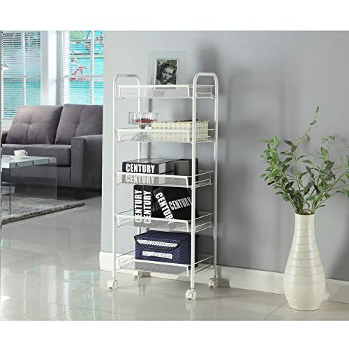 (5-Tier Wire Multifunctional Kitchen Island Rolling Utility Cart Standing Workstation Shelf Rack Mesh Style Removable Storage Cart For Bathroom Bedroom Trolley Garage Organizer (With Hook Ivory)