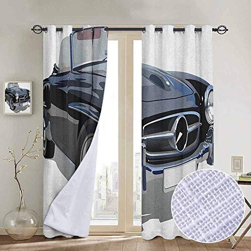 NUOMANAN Bedroom Curtain Cars,Classical Retro Vehicle Antique Convertible Prestige Old Fashion Revival, Black Pale Grey White,Insulating Room Darkening Blackout Drapes 120