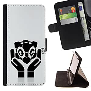 DEVIL CASE - FOR Sony Xperia M2 - cool love heart hands message - Style PU Leather Case Wallet Flip Stand Flap Closure Cover