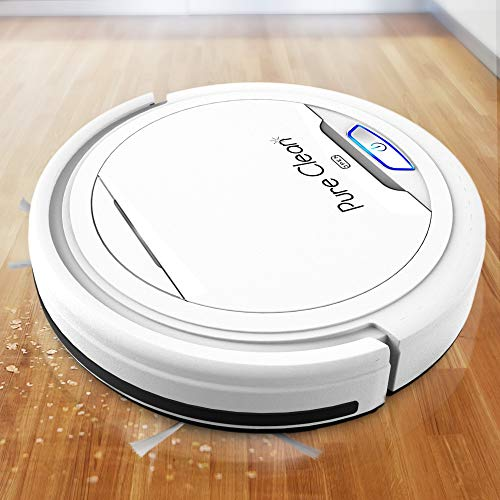 PUCRC25 Automatic Robot Vacuum Cleaner – Lithium Battery 90 Min Run Time – Robotic Auto Home Cleaning for Clean Carpet and Hardwood Floor Dry Mopping – Pet Hair Allergies Friendly – Pure Clean