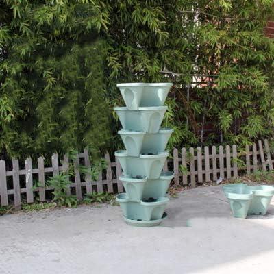 QINGBAO - Maceta apilable para fresas, hierbas, flores y verduras, 5 niveles, para jardín vertical interior/exterior: Amazon.es: Hogar