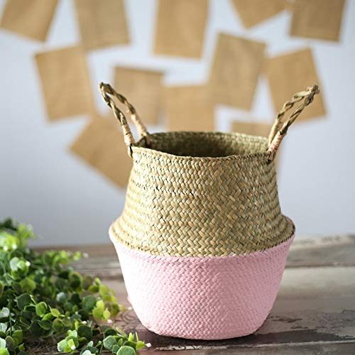 SeedWorld Storage Baskets - Household Foldable Natural Seagrass Woven Storage Pot Garden Flower Vase Hanging Basket with Handle Storage Bellied Basket 1 PCs ()