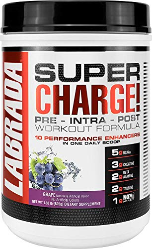 LABRADA NUTRITION Super Charge Pre Workout, Nitric Oxide Boosting Performance Enhancer with BCAAs, Creatine Monohydrate and 8 More Clinically Dosed Ingredients, Grape, 625 Gram