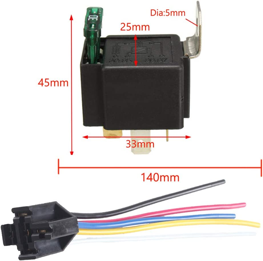 ESUPPORT 12V 30A Car Motor 14AWG Heavy Duty Relay Socket Plug 5Pin Fuse Switch On//Off SPDT Wire Harness Metal Pack of 5