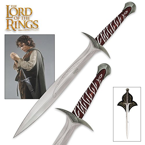 (United Cutlery The Lord of The Rings Sting Sword of Frodo Baggins with Wall Plaque - Engraved with Elven Runes - 22