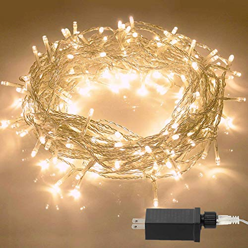(Aluan Christmas Lights String Lights 100 LED 33ft+10ft 8 Modes Plug in Indoor String Lights 31V Waterproof Fairy Lights Home Garden Party Wedding Christmas Tree Bedroom Window Curtain Wall Decoration)