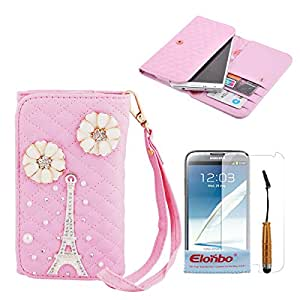 Elonbo TM Pink Diamond Pattern Bling Eiffel Tower Wristlet Snaps PU Leather Wallet Flip Pouch Case Cover Skin For Samsung Galaxy Note 2 N7100+ Cleaning Cloth + Touch Pen Stylus+ Front Screen Protector