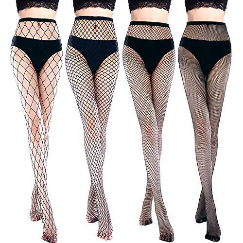 Style Suspender Pantyhose (Chengu 4 Pairs Woman's High Waist Tights Rhinestone Velvet Pantyhose Fishnet Stockings (Style B))