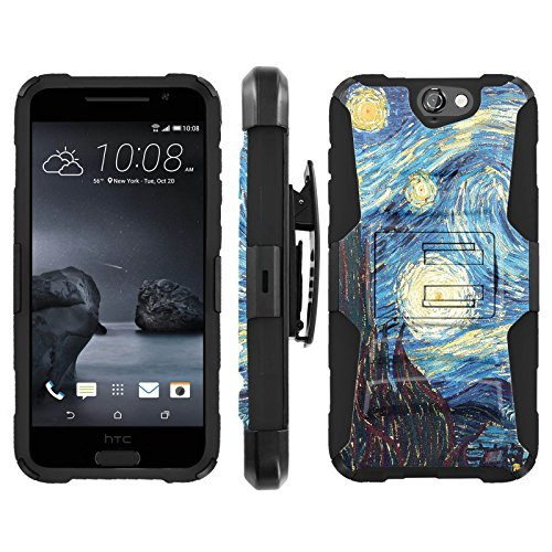 [ArmorXtreme] Case for Htc One A9 Aero Black/Black [Combat Armor Heavy Duty Case with Holster] - [Starry Night Van Gogh] (Htc One Black)