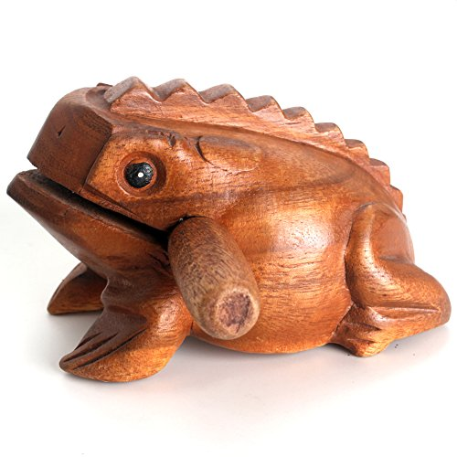 Z Zicome 5 Inch Wooden Handcraft Frog Animal Guiro Rasp Croaking Sound Toy Musical Instrument