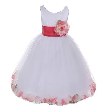 f3bcd2d9da Cinderella Couture Little Girls White Coral Petal Adorned Satin Tulle Flower  Girl Dress 2T