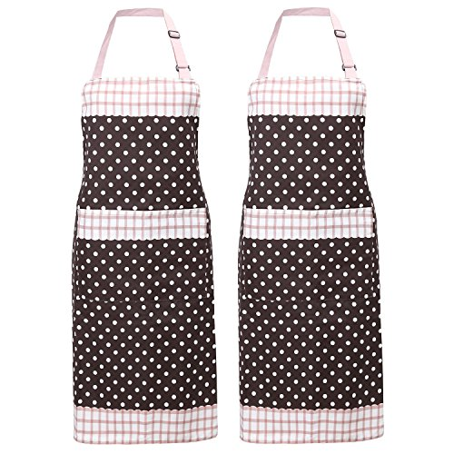 Nuovoware Aprons, [2PACK] Fashionable Unisex Chef Kitchen Apron with Adjustable Neck Strap and Spacious Pocket, Perfect for Cooking, Baking and Housework, Machine Washable, Coffee & White Dots (Dot Apron)