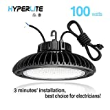 Hyperlite 100W UFO LED High Bay Light High Bay Lighting LED, UL/DLC 4.2 Premium/FCC Approved 5' wires with US plug  Dimmable IP65, 5 years warranty, 5000K