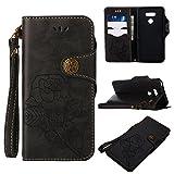 NEXCURIO [Retro Rose] LG G6 / G6+ (G6 Plus) Wallet Case with Card Holder Folding Kickstand Leather Case Flip Cover for LG G6 / LG G6+ - NEGUH11100 Black