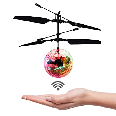 Flying Ball, Crystal Flashing Hand-Controlled Infrared Induction Flying Toys with LED Light, Rechargeable Light up Sensor, Colorful Flying Helicopter Toys, Suitable for Kids, Teens(Black): Toys & Games