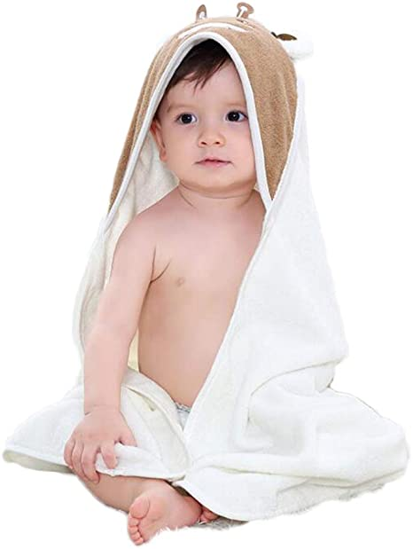 LYX Toalla De Bebé con Capucha, 100% De Algodón Anti-Bacteriano E Hipoalérgico Bebé Toalla De Baño para Bebés Y Niños Pequeños,White: Amazon.es: Deportes y aire libre