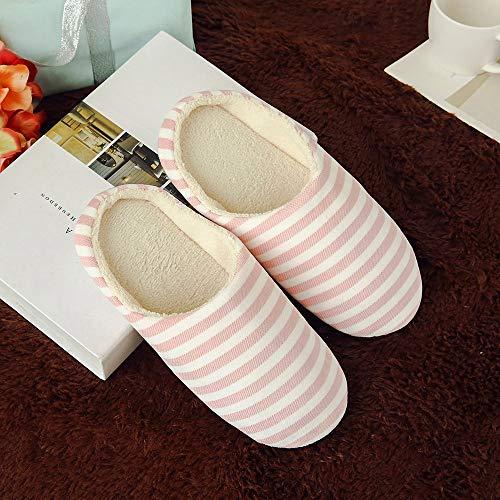 Rose Homme Slipper Femme Doux Hiver Peluche Intérieur Court dérapantes Accueil Rayure Coton Chaussures Pantoufles Chaud Maison Sunenjoy Anti Chaussons qC1wFWAW
