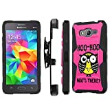 Galaxy [GRAND Prime] Armor Case [SlickCandy] [Black/Black] Heavy Duty Defender [Holster] [Kick Stand] Phone Case - [Hoo is There Owl] for Samsung Galaxy [GRAND Prime] G530