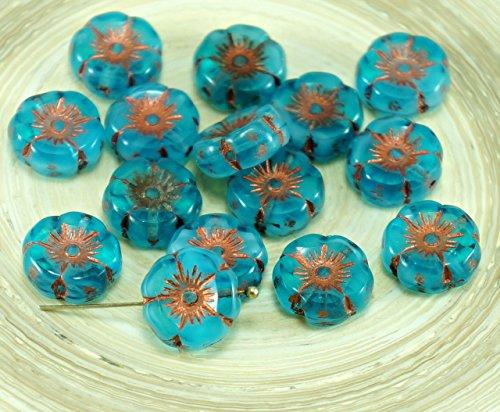 6pcs Crystal Blue Opal Mix Bronze Czech Glass Flat Carved Table Cut Window Hawaiian Flower Beads Coin -