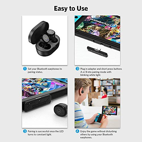 1Mii MiiLink Bluetooth Adapter for Nintendo Switch/PC, Wireless Audio Bluetooth 5.0 Transmitter aptX Low Latency Built-in Mic for Bluetooth Headphones Earbuds Speakers Only