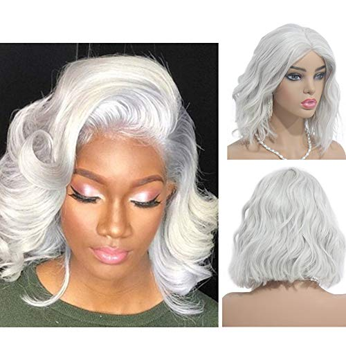 Loviness Silver Grey Body Wave Bob Wig Human Hair Wigs Lace Front Glueless Pre Plucked 180% Density 13X4 Frontal Bleached Knot Wigs 14 - Human Hair 3/4 Wig