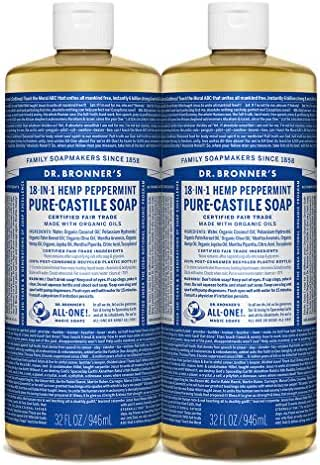 Dr. Bronner's - Pure-Castile Liquid Soap (Peppermint, 32 ounce, 2-Pack) - Made with Organic Oils, 18-in-1 Uses: Face, Body, Hair, Laundry, Pets and Dishes, Concentrated, Vegan, Non-GMO