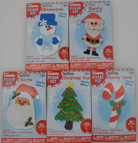 Eye Cane Foam (5 Christmas Holiday Foam Craft Kits - 2 Santa Claus, 1 Christmas Tree, 1 Candy Cane, 1 Snowman - Bundle of 5 Craft Kits)