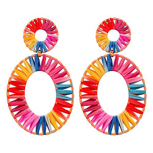 NEWNOVE Handmade Raffia Earrings Lightweight Geometric Straw Dangle Earrings for Women (A_Multicolor) ()