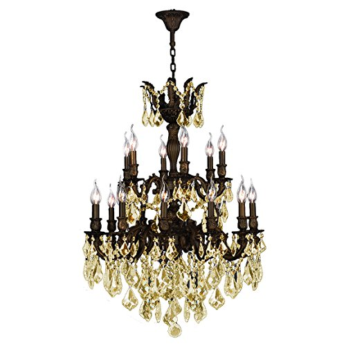 Worldwide Lighting Versailles Collection 18 Light Flemish Brass Finish and Golden Teak Crystal Chandelier 27