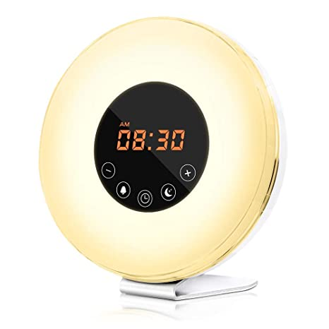 dostyle Wake Up Light Alarm Clock with Sunrise & Sunset Simulator, 6 Nature Sounds, 7 Colors Night Light, FM Radio, Touch Control - with Snooze ...