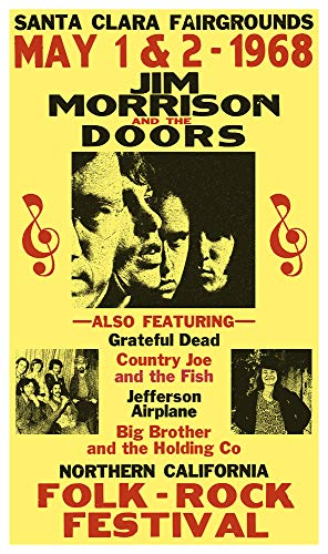 "Jim Morrison and The Doors Folk Rock Festival 13""x22"" Vintage Style Showprint Poster - Concert Bill - Home Nostalgia Decor Wall Art Print"
