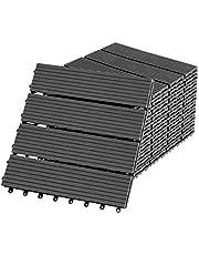 Aufun WPC-tegels, houtcomposiet, terrastegels, balkontegels, kliktegels in houtlook