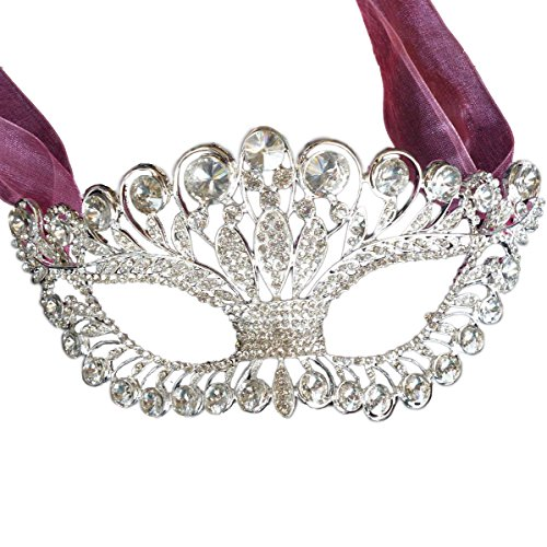 Venetian Carnival Mardi Gras Mask (Luxury Full Rhinestone Venetian Masquerade Ball Women Mask For Mardi Gras Carnivals Party)