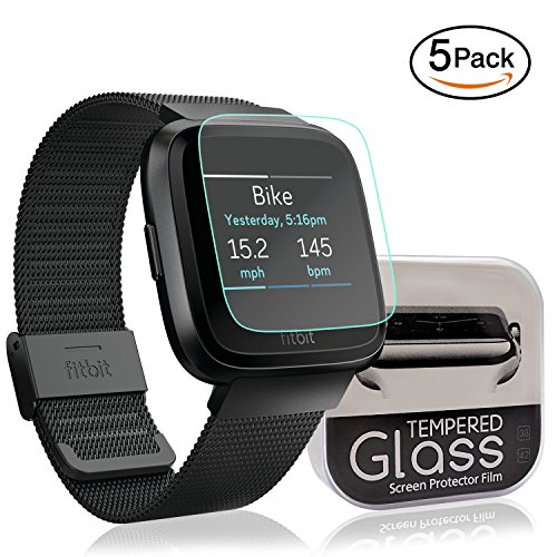 [5-Pack] Fitbit Versa Screen Protector Anti-scratch Bubble-free Ultra-thin HD-clear Easy Installation Smart Watch Tempered Glass Film Accessories by SYOSIN