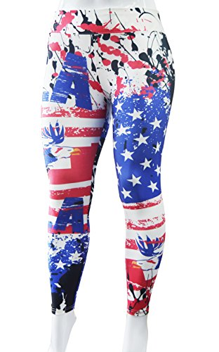Elsefour Women's Printed Fashion Ultra Soft High-Waist Leggings (M, USA - American Fashion Flag