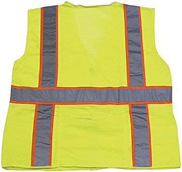 Lime Medium Ironwear 1292-L-2-M ANSI Class 3 Polyester Mesh SAFETY Vest with 2 Silver Reflective Tape