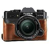 First2savvv XJPT-XT10-D10 dark brown Leather Half Camera Case Bag Cover base for Fuji Fujifilm X-T10 XT10