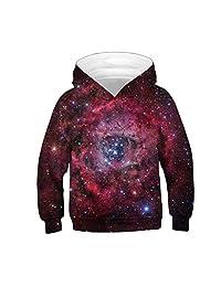 Moonker Baby Girls Boys Teen Hoodie Sweatshirt Pullover Tops 4-13 Years Old Kids Child Galaxy Fleece Print Cartoon Shirt