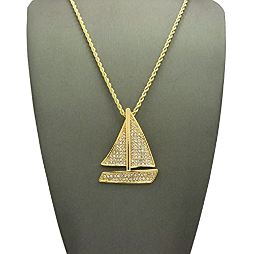 """Stone Stud Sailboat Pendant w/3mm 18"""" Rope Chain Necklace, Gold-Tone"""
