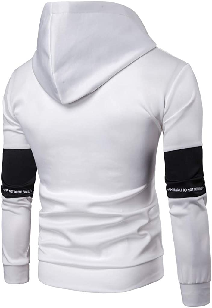 Danhjin Casual Men Splice Workout Standing Collar Coat Blouse Hooded Sweatshirt Stretchy Pullover Tops Include Pant