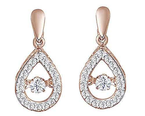 Dancing Round Cut White Natural Diamond Pear Shaped Drop Earrings In 10K Solid Rose Gold (0.33 Cttw)