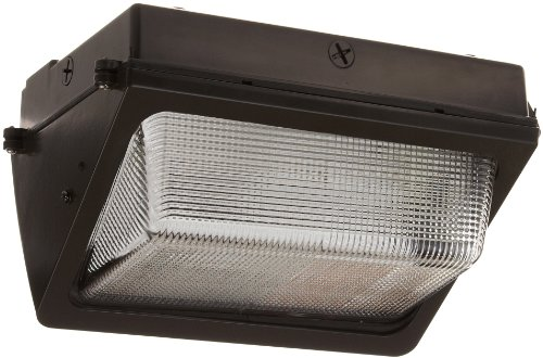 (RAB Lighting WP2F42/PC WP2 Mid Sized CFL Wallpack with Glass Lens, Triple Type, Aluminum, 42W Power, 3200 Lumens, 120V Button Photocell, Bronze Color)