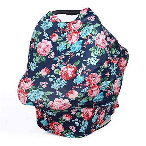 TUOKING Multi Colorful Patterned Nursing Cover Multi-Use Baby Car Seat Cover (Flowers-Navy Blue)