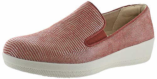 Fitflop Mujeres Superskate Lizard-print Suede Loafer Flat Spice